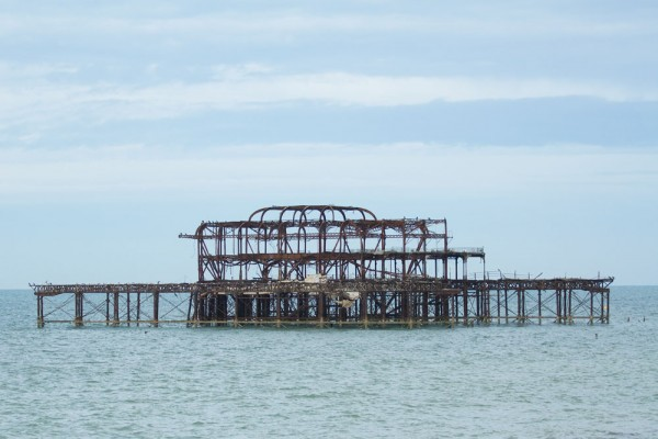 The ruins of the West Pier at Brighton viewed from the East