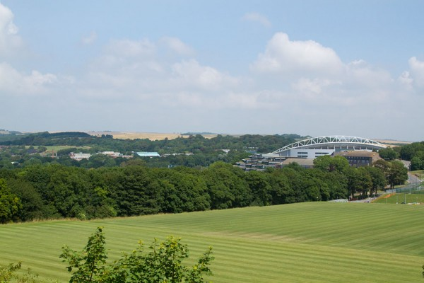 The Amex Stadium, the University of Brighton Falmer campus