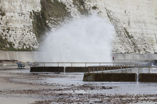 Sea crashing against the Undercliff Walk at Rottingdean