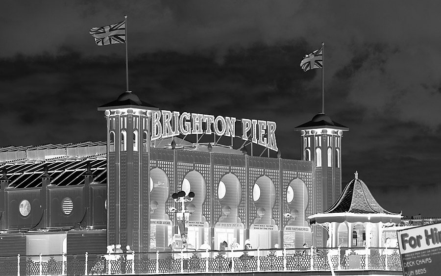 Brighton Pier (black and white negative)