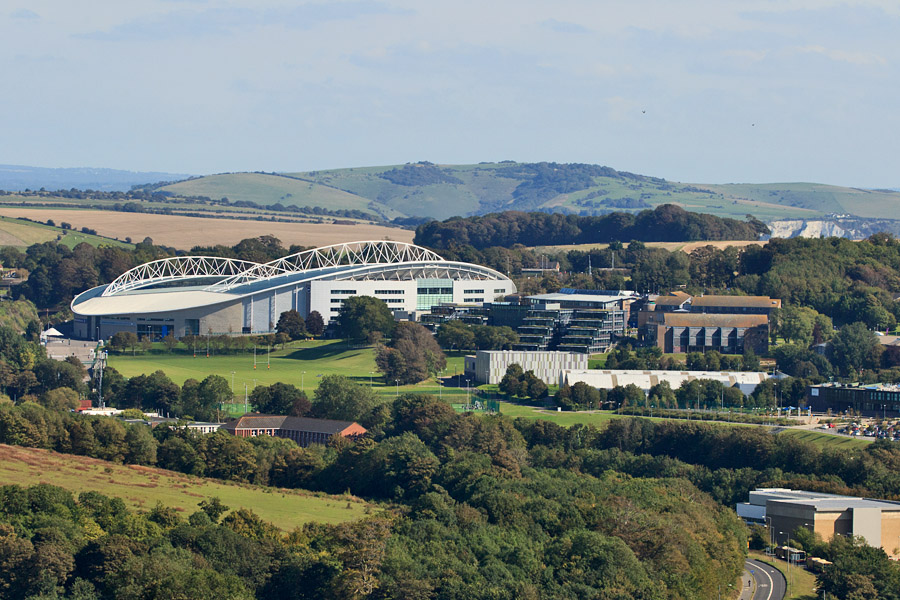 Brighton and Hove Albion Amex Community Stadium and the University of Brighton, Falmer campus