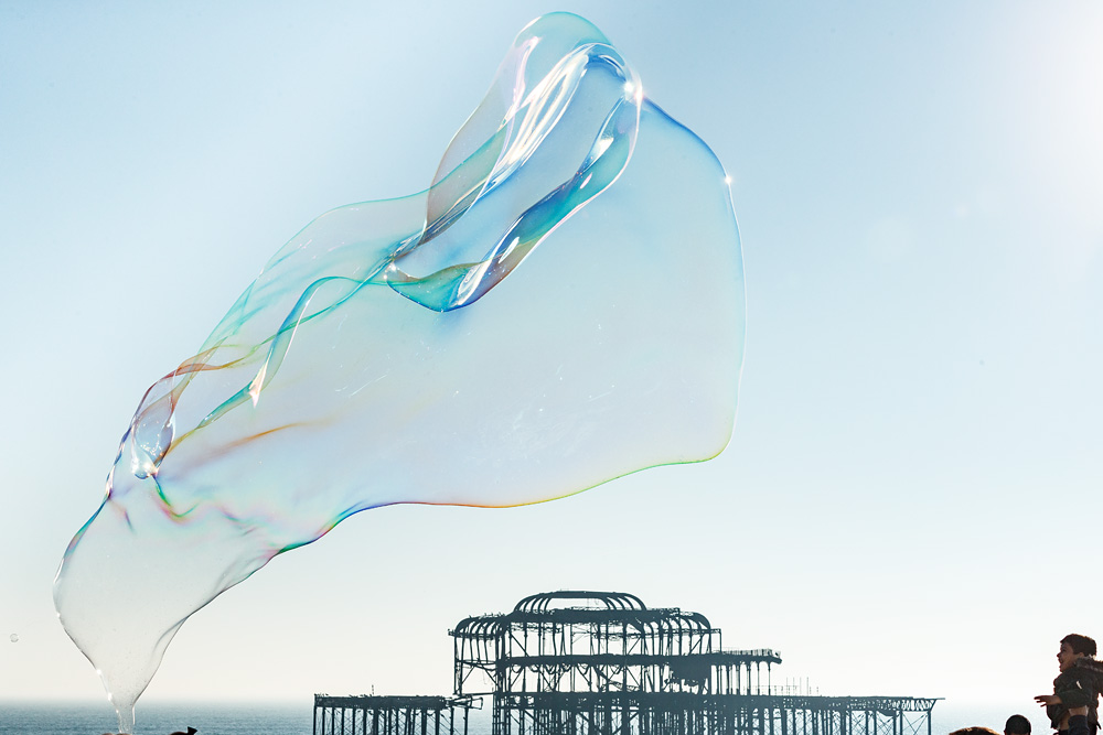 Giant bubble framing the West Pier